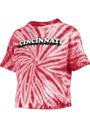 Cincinnati Womens Red Tie-Dye Short Sleeve T-Shirt