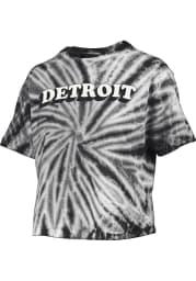 Detroit Womens Black Tie-Dye Short Sleeve T-Shirt