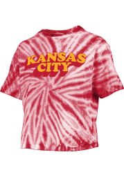 Kansas City Womens Red Tie-Dye Short Sleeve T-Shirt