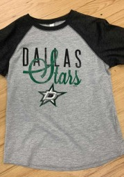 Dallas Stars Girls Black Youth Girls Blocked Baseball Long Sleeve T-shirt