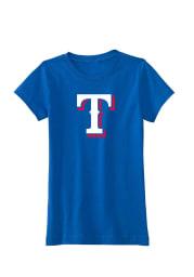 Texas Rangers Girls Blue Logo Short Sleeve Tee