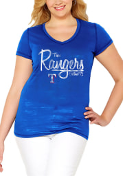 Texas Rangers Womens Blue MultiCount Short Sleeve Plus Tee