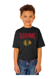 Chicago Blackhawks Youth Black Bold Arch Short Sleeve T-Shirt