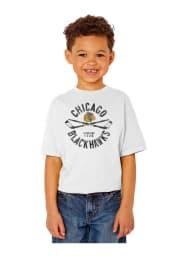Chicago Blackhawks Youth White Circle Cross Short Sleeve T-Shirt