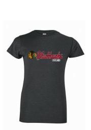 Chicago Blackhawks Girls Grey Script Short Sleeve Tee