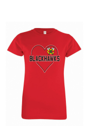 Chicago Blackhawks Girls Red Sequin Heart Short Sleeve Tee