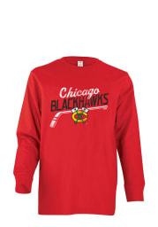 Chicago Blackhawks Youth Red Slant Short Sleeve T-Shirt