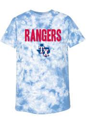 Texas Rangers Womens Light Blue Tie Dye Short Sleeve T-Shirt