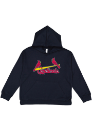 St Louis Cardinals Youth Navy Blue Secondary Logo Long Sleeve Hoodie