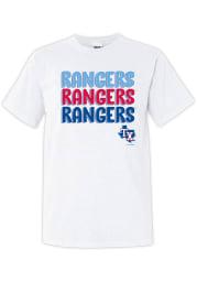 Texas Rangers Womens White Repeated Short Sleeve T-Shirt