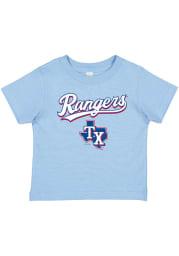 Texas Rangers Toddler Light Blue Wordmark and Logo Short Sleeve T-Shirt