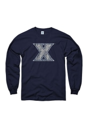 Xavier Musketeers Navy Blue Arch Mascot Long Sleeve T Shirt
