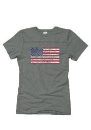 Americana Grey Juniors Distressed Flag Short Sleeve T Shirt