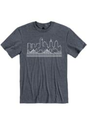 Philadelphia Navy Blue Skyline Short Sleeve T Shirt