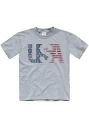 Americana Youth Grey USA Flag Short Sleeve T Shirt