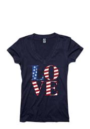 Americana Womens Navy Blue Love Flag Short Sleeve T Shirt