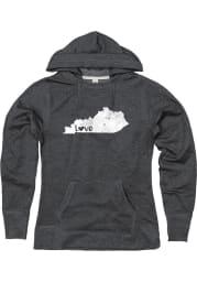 Kentucky Womens Black LOVE State Shape Long Sleeve Hood Sweatshirt