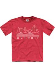 Detroit Youth Red Skyline Glow Short Sleeve T Shirt