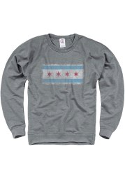 Chicago Mens Grey Chicago Flag Long Sleeve Crew Sweatshirt