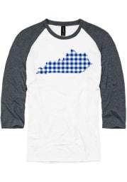 Kentucky White Buffalo Plaid State Raglan 3/4 Sleeve T Shirt