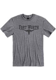 Fort Worth Grey Long Horn Short Sleeve T Shirt
