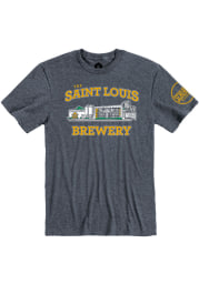Schlafly Heather Navy Brewery Building Short Sleeve T Shirt