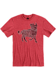 Fiorella's Jack Stack Barbecue Heather Red Bull Short Sleeve T Shirt