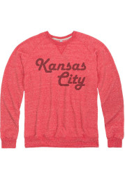 Kansas City Mens Red Retro Wordmark Long Sleeve Crew Sweatshirt