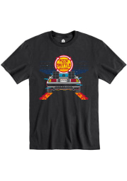 Pizza Shuttle Black BTTF On Time 80s Pixelated Short Sleeve T-Shirt