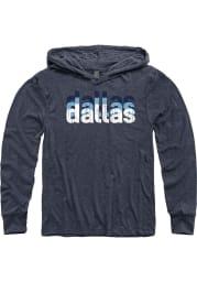 Dallas Vintage Navy Wordmark Stack Long Sleeve Lightweight Hood