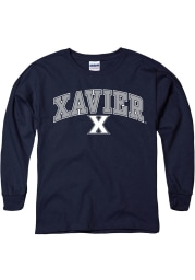 Xavier Musketeers Youth Navy Blue Arch Mascot Long Sleeve T-Shirt