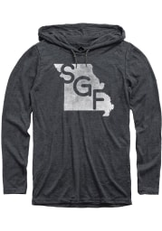 Springfield Heather Dark Grey SGF State Shape Long Sleeve T-Shirt Hood