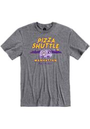 Pizza Shuttle Heather Graphite Manhattan Van Short Sleeve T-Shirt