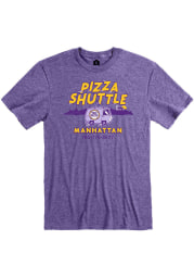 Pizza Shuttle Heather Purple Manhattan Van Short Sleeve T-Shirt