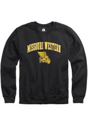 Rally Missouri Western Griffons Mens Black Fleece Arch Mascot Long Sleeve Crew Sweatshirt