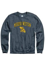 Rally Missouri Western Griffons Mens Charcoal Fleece Arch Mascot Long Sleeve Crew Sweatshirt