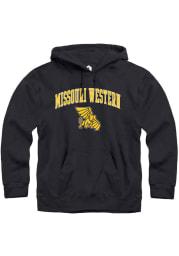 Rally Missouri Western Griffons Mens Black Fleece Arch Mascot Long Sleeve Hoodie