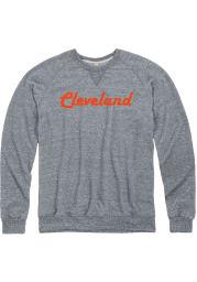 Cleveland Mens Charcoal Retro Long Sleeve Crew Sweatshirt