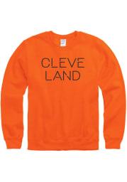 Cleveland Mens Orange Disconnected Long Sleeve Crew Sweatshirt