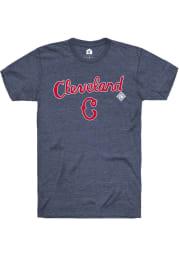 Rally Cleveland Buckeyes Navy Blue Script Logo Short Sleeve Fashion T Shirt