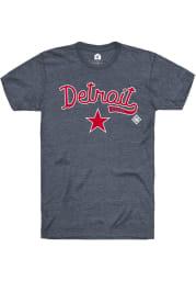 Rally Detroit Stars Navy Blue Script Logo Short Sleeve Fashion T Shirt