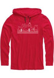 Rally Cincinnati Mens Red Skyline Long Sleeve Hoodie