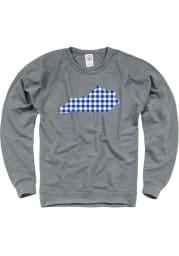 Kentucky Grey Plaid State Shape LS Crew