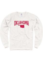 Oklahoma Mens Oatmeal Arch State Shape Long Sleeve Crew Sweatshirt