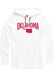 Oklahoma Mens White Arch State Shape Long Sleeve Hoodie