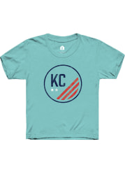 Rally KC NWSL Youth Teal Prime Distressed Short Sleeve T-Shirt