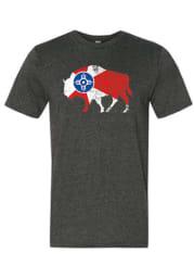 Wichita Dark Grey City Flag Buffalo Short Sleeve T Shirt