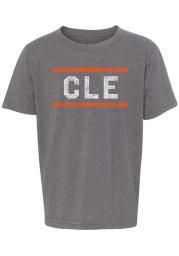 Rally Cleveland Youth Grey Block and Bars Short Sleeve T-Shirt