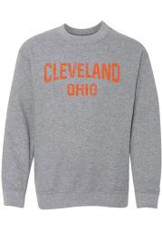Rally Cleveland Youth Grey Arch Long Sleeve Crew Sweatshirt