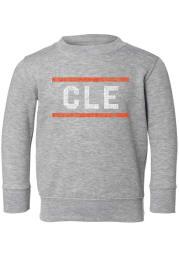 Rally Cleveland Toddler Grey Block and Bars Long Sleeve Crew Sweatshirt